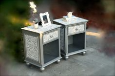 Silver 1 drawer nightstands  - looks like you could find and do yourself - would be fun project.