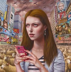 """""""Android"""", Oil on Canvas, 42""""x42"""" The Art of Alex Gross - Paintings"""