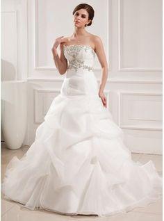 Corte A/Princesa Escote corazón Cola capilla Organza Satén Vestidos de novia con Bordado Volantes (002008182)
