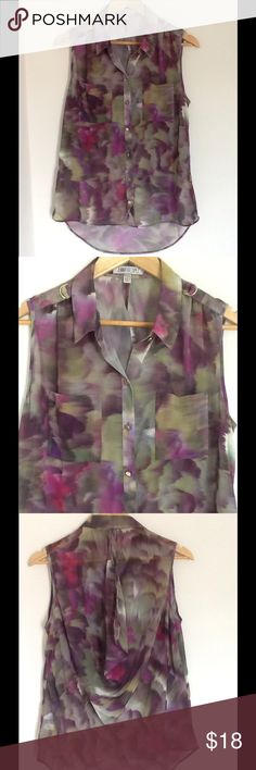 💜❤️ Jennifer Lopez Top, Size L 💚💛 ✔️ Jennifer Lopez ✔️ Color: Blend of multicolor.  Green, purple, pink, yellow. Colors are more vibrant in person ✔️ Size: Large Petite ✔️ Sheer ✔️ 100% Polyester ✔️ The back has an opening at the top. ✔️ Excellent used condition  If you have any other questions, please don't hesitate to ask below 📥 Jennifer Lopez Tops Blouses