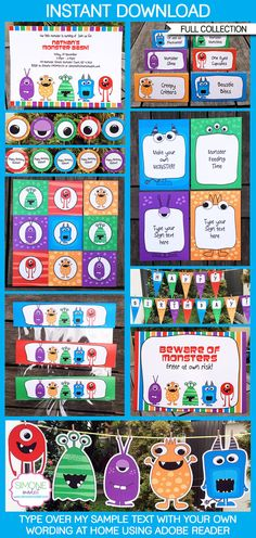 Monster Birthday Party - INSTANT DOWNLOAD full Printable Collection + Invitation - EDITABLE text that you personalize with Adobe Reader on Etsy, $14.95