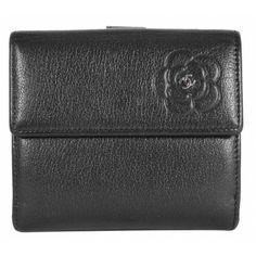Chanel Black Camellia Calfskin Leather BiFold Coin Wallet