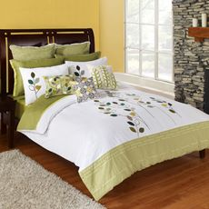 "Kas Faraday Duvet Cover, 100% Cotton      This whimsical duvet cover in fresh modern white with lime color blocking is enhanced by the mod geo leaves and chickadees embroidered in mixed shades of green. The combination creates a welcoming look in any room. 100% cotton. Full/Queen duvet cover measures 86"" W x 90"" L, and King measures 104"" W x 90"" L. Machine wash. Imported.  View all items listed below"