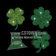 Bling Green Clover Saint Patrick Day Iron on Rhinestone Transfer Decal