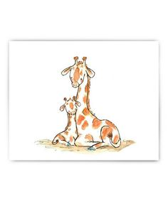 baby Giraffe Print by trafalgar's square #zulilyfinds so sweet! Great for the nursery or playroom!