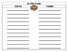 Football Theme Noun and Verb Sort36 picture cards and recording sheet