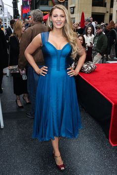 Blake Lively in a blue dress