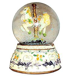 Carousel Horse Water Globe, Small Snow Globe with Glitter The Best Carousel Gift.