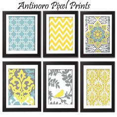 Yellow turquoise Grey Vintage / Modern inspired  Art Prints Collection (Series C) -Set of 6 - 5x7 Prints -   (UNFRAMED). $40.00, via Etsy.