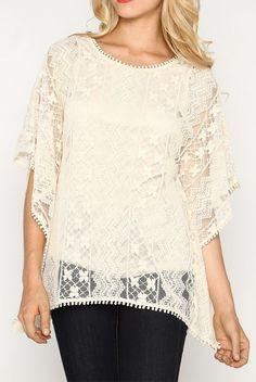 Marineblu Cream Lace Cape-Sleeve Top