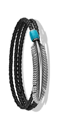 Silver Feather, Turquoise, and Leather Wrap Bracelet