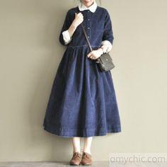blue retro corduroy cotton dresses plus size casual dresses