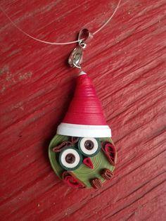 Christmas Owl Pendant, Eco-Friendly Paper Quilled Jewelry - paper jewelry, paper pendant, owl pendant, Christmas jewelry, Christmas pendant