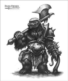 Honey Badger Barbarian - Critter Kingdoms™ Anthropomorphic Animals - Miniature Lines