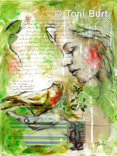"""""""cherish"""" mixed media artwork by Toni Burt - vintage papers and ephemera with acrylic paint and Sennelier oil sticks."""