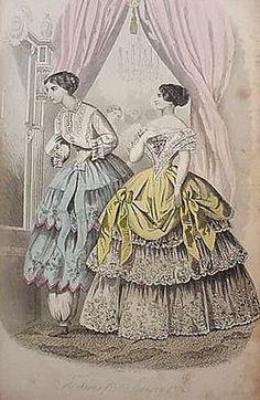 "the ""Bloomer Costume."" illustration from a mid-nineteenth century magazine, Peterson's Magazine, January 1852."