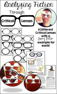 A fun tactile learning technique to analyze literature! Learning about critical lenses through real lenses! Harry Potter critical analysis examples for all 8 lenses! Ap Literature, Teaching Literature, Teaching Reading, American Literature, Reading Skills, Writing Skills, English Classroom, English Teachers, English Lessons
