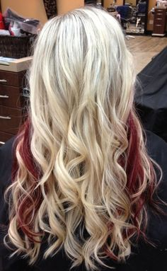 Beautiful blonde hair with red underneath
