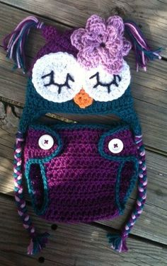 Melissa's Crochet Designs: Newborn Baby Girl Sleepy Crochet OWL Purple n Teal...