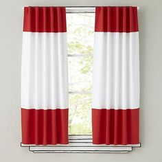 Kids Curtains: Red and White Curtain Panels in Curtains