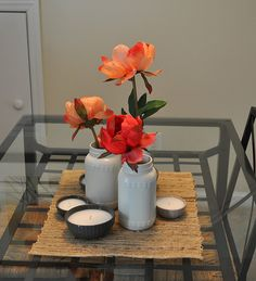 Spray paint recycled jars white for vases