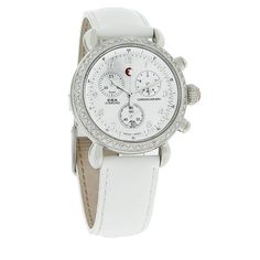 MICHELE LADIES CSX DIAMOND WHITE LEATHER STRAP SWISS QUARTZ CHRONOGRAPH WATCH  - Polished Stainless Steel Case & Buckle - Mother Of Pearl Dial - Silver Tone-luminous Hour, Minute, & Second Timer Hands - Silver Tone Numerical Hour Markers - Three Chronograph Function Sub-dials - Date Displayed at 6:00 Position - Genuine Diamond Bezel