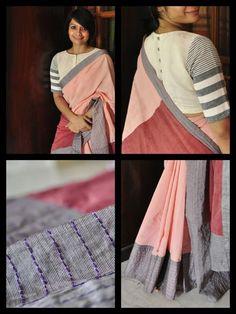 Very pretty. The saree and the blouse. Cotton Saree Blouse Designs, Blouse Patterns, Beautiful Blouses, Beautiful Saree, Formal Saree, Simple Sarees, Elegant Saree, Saree Look, Saree Dress