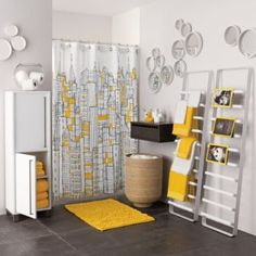 Love the gray and yellow - the bowl of paper rolls on the cabinet looks great!