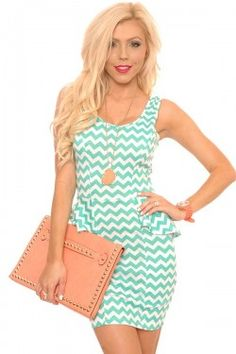 Mint Chevron Print Peplum Dress