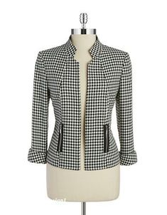 classic without looking stuffy . A classic houndstooth pattern in a sophisticated silhouette with zip pockets.Womens Work Blazer - Jacket for WorkTahari Arthur S.Designer Clothes, Shoes & Bags for Women Suits For Women, Blouses For Women, Jackets For Women, Jackett, Jacket Pattern, Blazer Pattern, Office Fashion, Work Attire, Mode Inspiration
