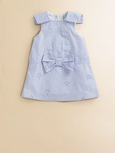 Cute little girl dress. Stripes, bow, sleeves.