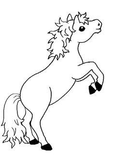 Illustration d'un poney debout sur ses pattes arrière, à colorier