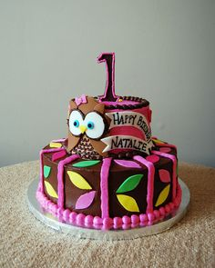 Owl Birthday Cake- this would be so cute for Harper's birthday since it is an Owl party! Owl Themed Parties, Owl Birthday Parties, Birthday Ideas, Owl Parties, Owl Cakes, Cupcake Cakes, Birthday Cake Pinterest, Owl Cake Birthday, Jungle Cake