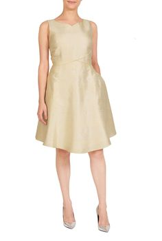 """eShakti Women's Sweetheart neck silk dupioni dress 6X-36W Short Ivory. Back zip with hook-and-eye closure, Sleeveless, Bodice darts to shape, Piped seam cross-waist, Flared skirt, Side seam pockets, Knee length, Lined in light polytaffeta, Silk, woven dupion, slub texture, light sheen, no stretch, midweight, Dry clean, Model is wearing our size M8, cut for her height of 5'8.5"""". Comes in Petites, Misses and Plus sizes for all heights. Made-to-order, available in sizes 0-36W and three…"""