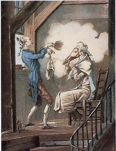 A gentleman being powdered by his valet.  A cone protects the gentleman's face during the process.  Powder was made from starch, often wheat flour, or powdered white clay.  The Toilette of the State Prosecutor's Clerk, c. 1768 by Carle Vernet.