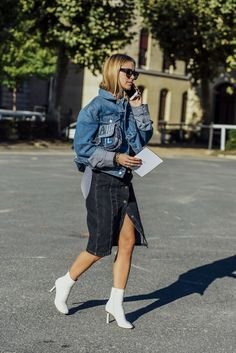 October 3, 2016  Tags Chanel, Black, Sunglasses, White, Paris, Blue, Pernille Teisbaek, Stripes, Denim, Balenciaga, Boots, Women, Cellphones, High Heels, Jackets, Clutches, Bags, Skirts, Shirts, Patchwork, 1 Person, Button-downs, SS17 Women's