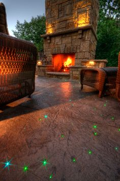 Fiber optic lighting poured into patio floor....awesome!
