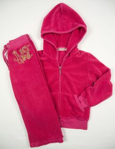 JUICY COUTURE Girls 2PC Track Suit Size 2 Pink Hoodie Jacket Pants Kids Lot #JuicyCouture