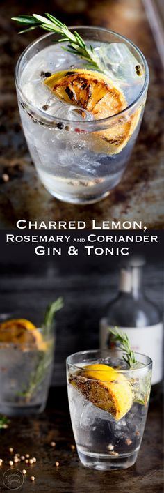 This Charred Lemon, Rosemary and Coriander Gin & Tonic is something special! - This Charred Lemon, Rosemary and Coriander Gin & Tonic is something special! The flavours are so pe - Cocktails Champagne, Fun Cocktails, Party Drinks, Summer Drinks, Cocktail Drinks, Cocktail Recipes, Lemon Cocktails, Liquor Drinks, Fall Drinks
