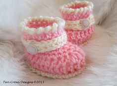 Cute little boots for baby. Make them quickly with a size G (4 mm) crochet hook and Pacific worsted weight yarn.