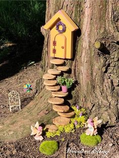 Diy Bird Feeder Discover Fairy Door that opens Fairy Door Fairy Garden Mothers Day Garden Decor Birthday Gift for Her Housewarming Fairy Tree Houses, Fairy Garden Houses, Gnome Garden, Kids Fairy Garden, Fairies Garden, Children Garden, Garden Front Of House, Ladybug Garden, Fairy Garden Plants