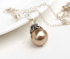 Champagne pearl necklace Bridesmaid by CreativityJewellery on Etsy, $25.00