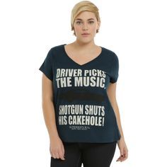 Hot Topic Supernatural Driver Picks The Music Girls V-Neck T-Shirt... ($23) ❤ liked on Polyvore featuring tops, t-shirts, destroyed t shirt, plus size tops, ripped t shirt, v neck t shirts and plus size tees