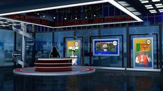 2D/3D green screen background best suited for a variety Election-based show