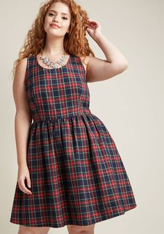 41322a1b51d Optimistic Effect Sleeveless Dress in Plaid. Plus Size ...