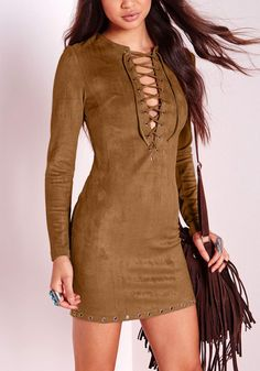Work this '70s-style brown suede lace-up dress for a night out in a club.
