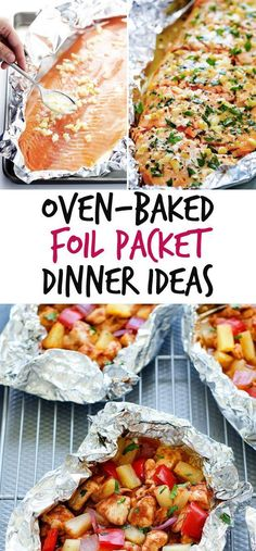 12 Oven-Baked Foil Packet Dinners To Try - salmon foil packets oven Tin Foil Dinners, Foil Packet Dinners, Foil Pack Meals, Foil Packet Recipes, Tin Foil Recipes, Grilling Recipes, Cooking Recipes, Healthy Recipes, Steak Recipes In Oven Dinners
