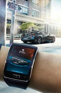 The self-parking BMW i3 is also controlled via Samsung's smartwatch: a tap of your watch will be there ready for you when you arrive. Click to see more.