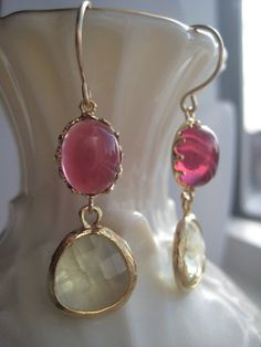 Glass and Gold Dangle Earrings by BeadBashByMarie on Etsy, $25.00