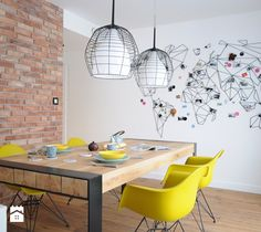Colorful-apartment-in-Poland-dining-area - Home Decorating Trends - Homedit Small Apartment Decorating, Apartment Design, Apartment Renovation, Casa Tokyo, Wire Wall Art, Colorful Apartment, Sweet Home, Dining Room Design, Dining Area